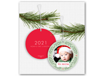 """Be merry Wreath"" Photo Ornament Holiday Cards"
